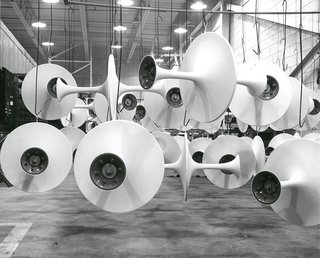 Pedestal bases awaiting marble tops for assembly, 1963. Photograph from the Knoll Archive.
