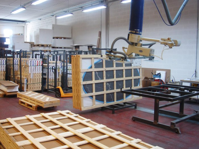 Finished marble tops being crated and prepared for shipment.  Photo 13 of 14 in Quarry to Table: A Story in Stone