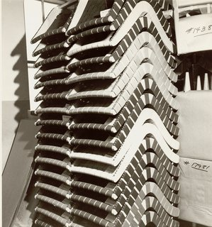 Stacks of Jens Risom's 650 Line Lounge Chairs. Image from the Knoll Archive.