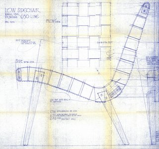 Blueprint for the 650 Line Lounge Chair designed by Jens Risom, c. 1943. Image from the Knoll Archive.
