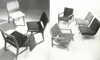 Left: The 666 Side Chair designed by Jens Risom, c. 1943. Right: The 650 Line designed by Jens Risom, c, 1943. Images from the Knoll Archive.