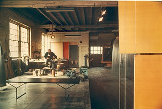 Bertoia working in his studio in Bally, Pennsylvania, 1952.