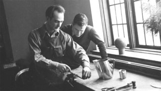 Harry Bertoia teaching metalworking at Cranbrook Academy, 1940.