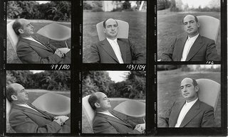 Portraits of Harry Bertoia from a photograph contact sheet for Knoll publicity materials.