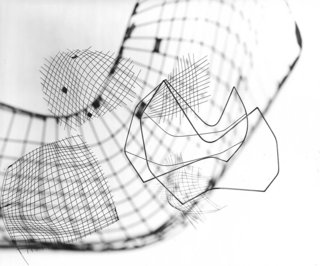Photo-montage of sketches for the Wire Collection by Harry Bertoia. Photograph by Herbert Matter. Image from the Knoll Archives.