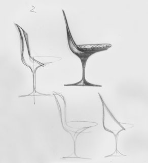 Sketches for the Tulip Chair by Eero Saarinen. Image form the Knoll Archives.