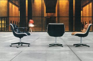 One of Jon Naar's photographs for The Pollock Chairs brochure, 1973.