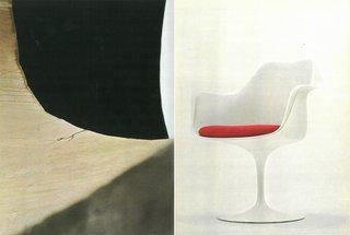 Left: Eero Saarinen's TWA Center at JFK Airport in New York, New York. Right: Eero Saarinen's Tulip Arm Chair.