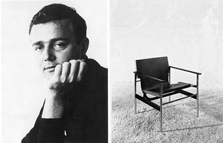 (Left) Portrait of Charles Pollock in the early 1960s. (Right) The Pollock Arm Chair (657), c.1960