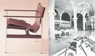 (Left) The Pollock Arm Chair (657), 1960 (Right) Chairs photographed in the main banking lobby of the Sumitomo Bank of California, Oakland (Shig Iyama, A.I.A.). Photograph by Roger Sturtevant, appeared in a feature by Burt Orben in Interior Design, March 1966