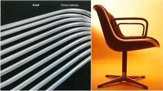 "(Left) Knoll Pollock Collection lookbook, with photography by Mario Carrieri <span style=""line-height: 1.8;"">(Right) The Pollock Executive Chair</span>"