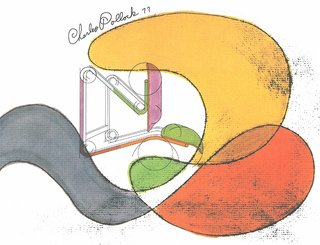 Conceptual drawing for a chair design by Charles Pollock, 1977