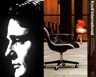 (Left) Portrait of Charles Pollock (Right) 1970s-era Knoll International advertisement employing the Massimo Vignelli grid, with photography by Jon Naar and Alex Naar