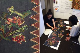 Left: Detail of the back of the heirloom rug that inspired the collection. Right: Dorothy Cosonas and Mee Ok Ryu at work.