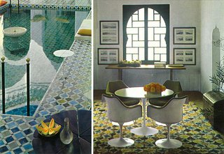 The swimming pool and living room of York Castle boasted intricate patterns in rich blues and greens.