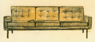 An early sketch of a sofa by Florence Knoll. Image from the Knoll Archive.