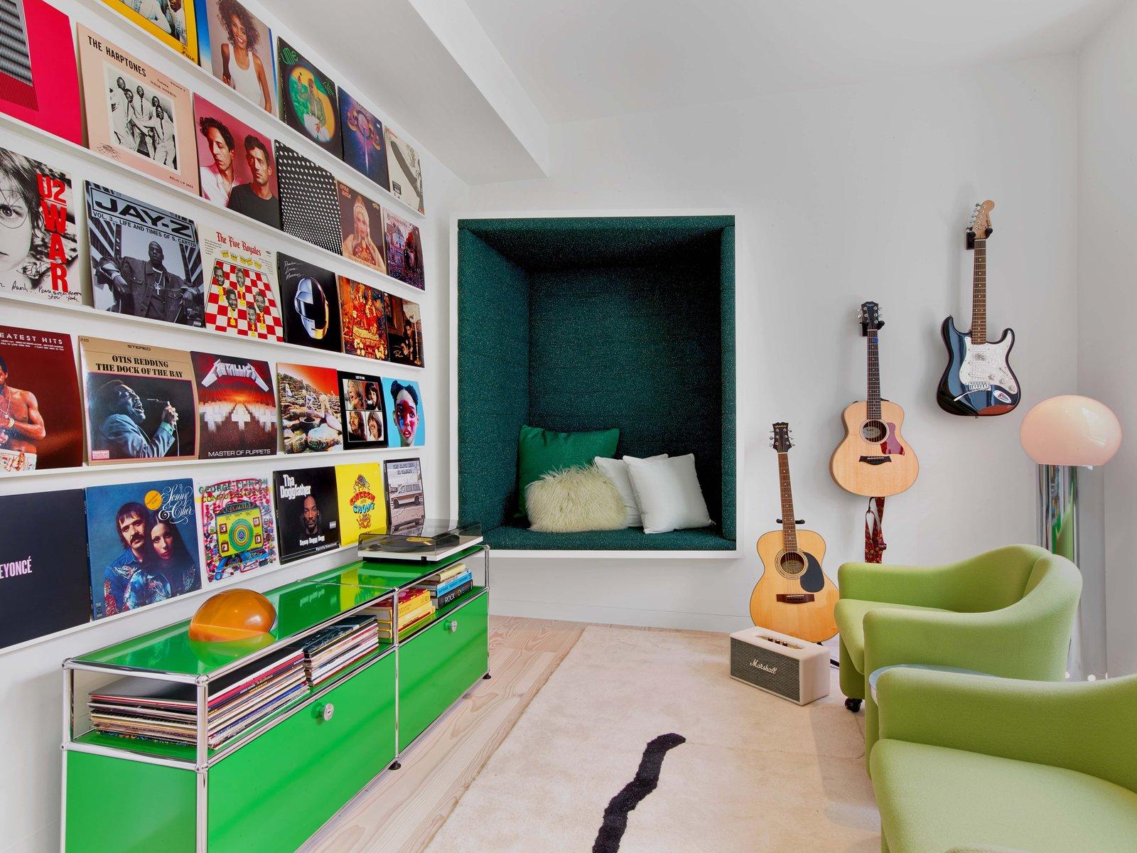 Office, Chair, Shelves, Storage, Carpet Floor, and Light Hardwood Floor  Glen Park Residence by CCS Architecture