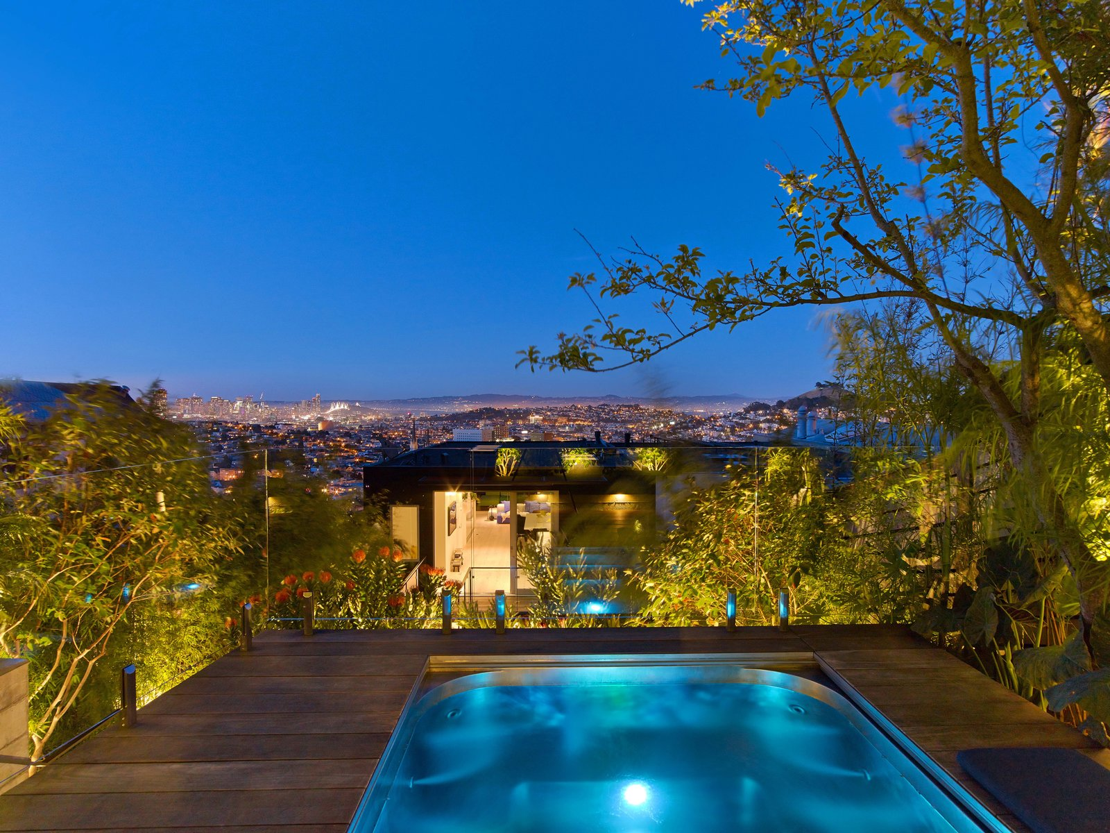 Outdoor, Trees, Swimming Pools, Tubs, Shower, Small Pools, Tubs, Shower, Back Yard, Wood Patio, Porch, Deck, and Post Lighting  Glen Park Residence by CCS Architecture