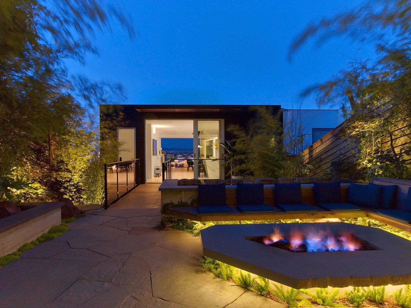 Outdoor, Back Yard, Trees, Shrubs, Stone Patio, Porch, Deck, Wood Fences, Wall, Landscape Lighting, and Horizontal Fences, Wall  Glen Park Residence by CCS ARCHITECTURE