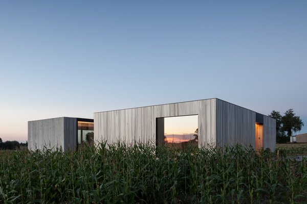 Defying traditionalism: concrete bungalow inserted in a rural Belgian landscape