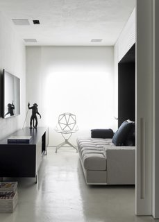 A Brazilian Bachelor Pad Embraces Light and Darkness - Photo 5 of 8 - Revollo worked with the owner to make the second bedroom into a multi-use space. It can be a living area, a sleeping quarter, or an office.