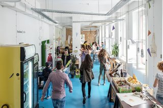 "The ""BetaCafe"" creates a fun space for gathering, and supports various community events like their ""Betapitch"" and startup job fairs."