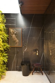 The black toilet is nearly camouflaged against the marble-clad walls, while art and greenery stand out.