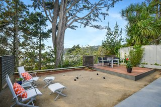The home has its very own bocce court in the backyard.