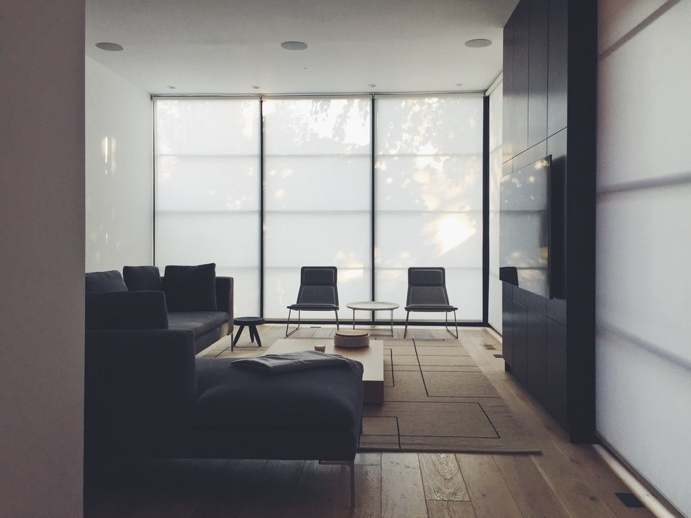 Living, Sofa, Coffee Tables, Chair, Medium Hardwood, Ceiling, Rug, and Recessed  Best Living Sofa Recessed Photos from These Modern Shades Are Revolutionizing the Market