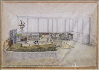 Neutra's original sketch depicts the home's living room.