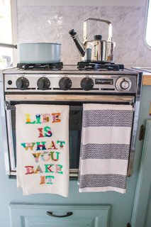 The kitchen's Wedgewood stove, still in working condition, was saved during the remodel.
