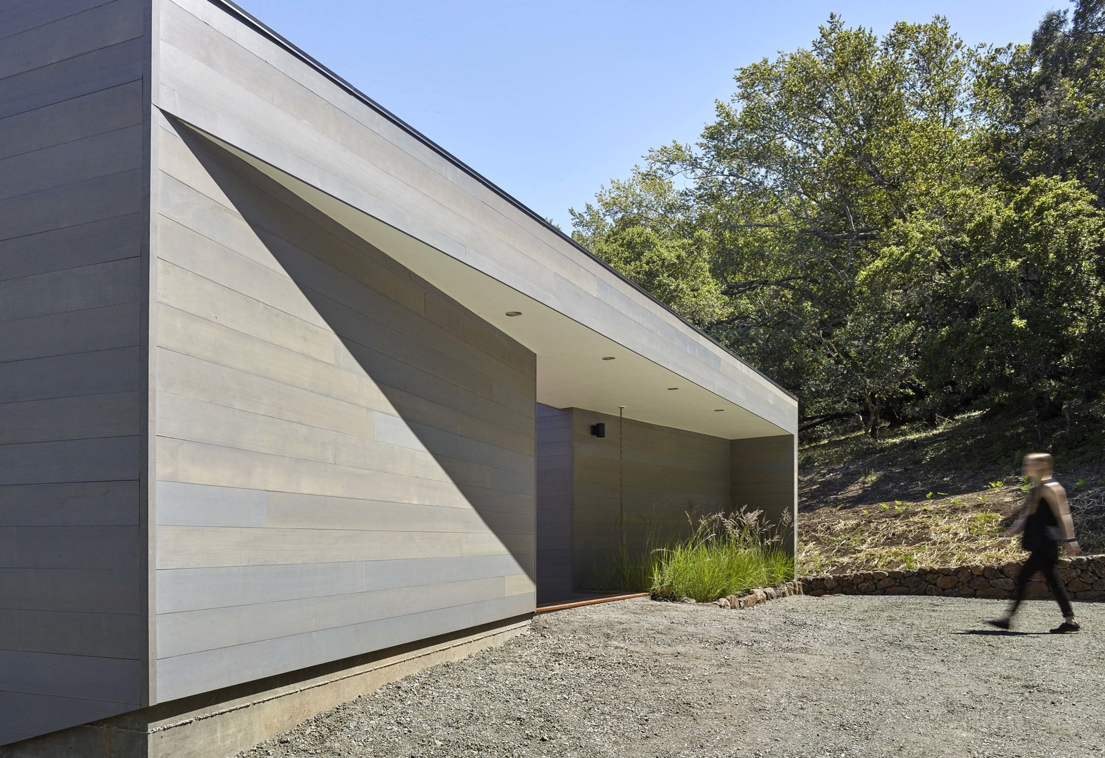 Exterior, House Building Type, Wood Siding Material, and Flat RoofLine Entry  Box on the Rock by Schwartz and Architecture