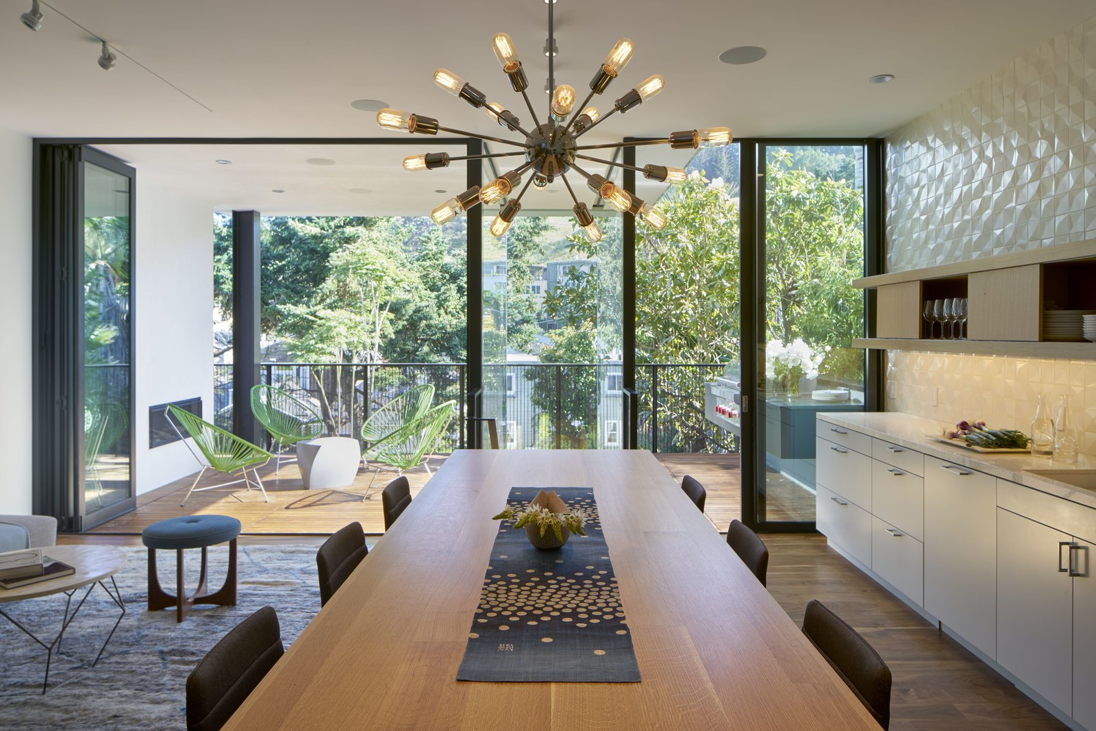 Dining Room, Light Hardwood Floor, and Dark Hardwood Floor  29th Street Residence by Schwartz and Architecture