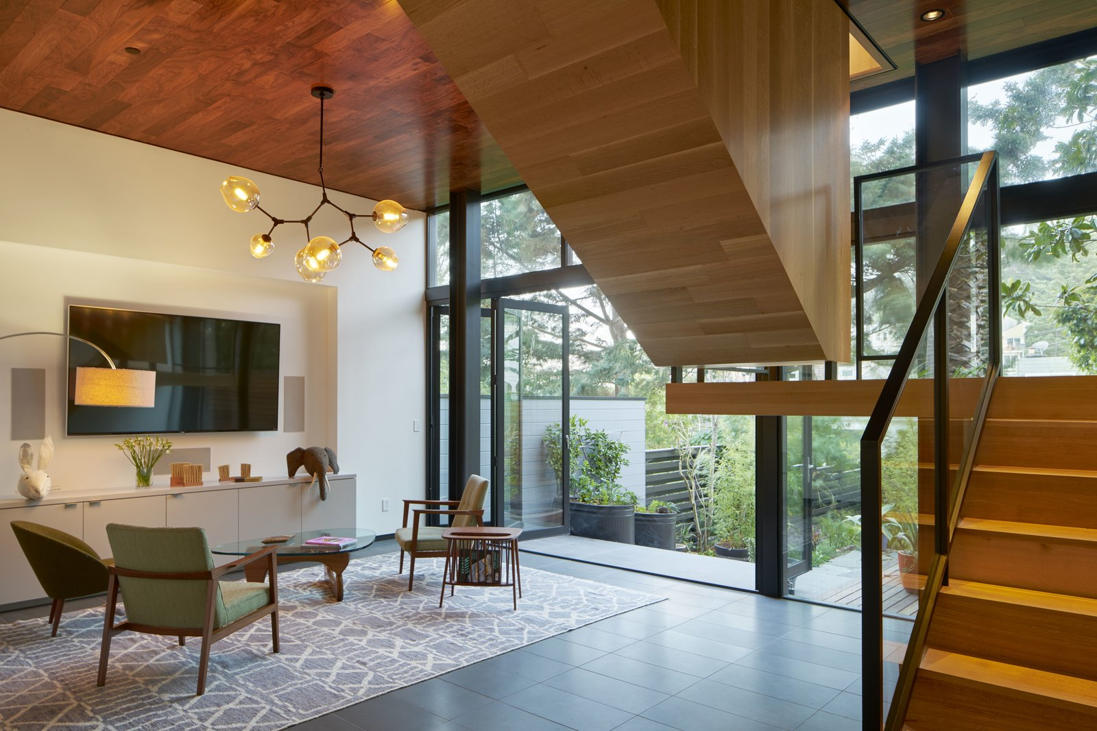 Living Room, Chair, End Tables, Pendant Lighting, and Floor Lighting  29th Street Residence by Schwartz and Architecture