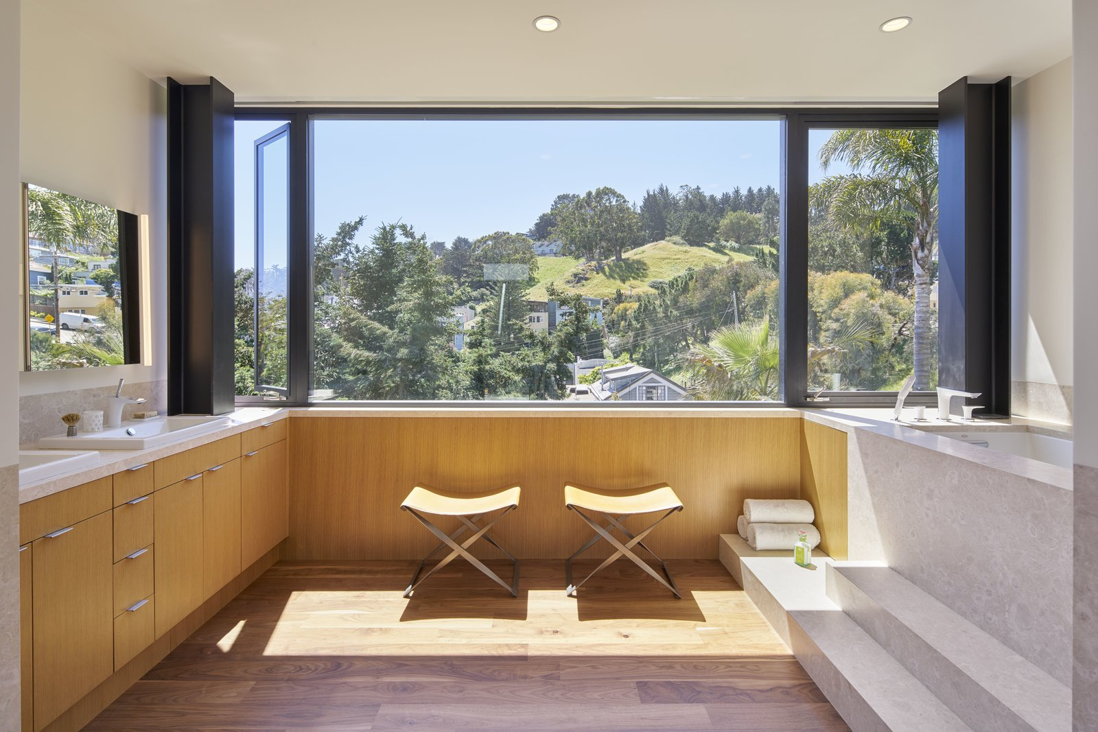 Bath Room, Soaking Tub, Drop In Sink, Medium Hardwood Floor, Drop In Tub, and Recessed Lighting  29th Street Residence by Schwartz and Architecture