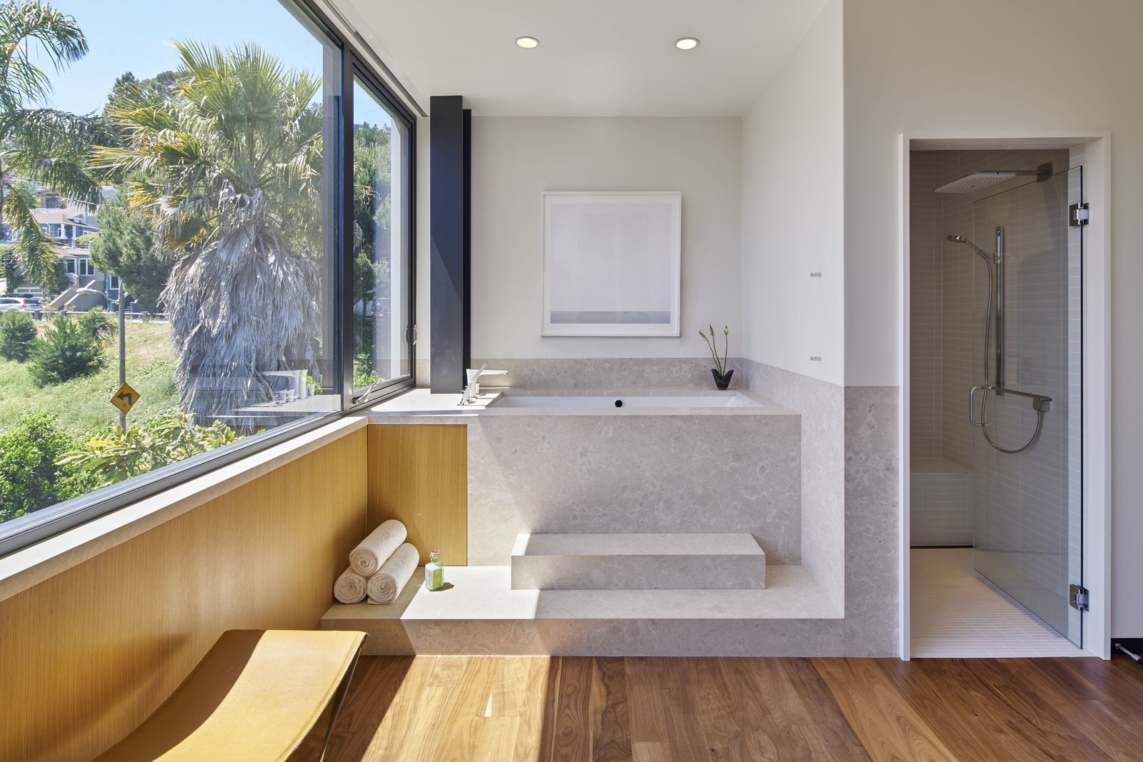 Bath Room, Medium Hardwood Floor, Drop In Tub, Soaking Tub, Enclosed Shower, Corner Shower, Full Shower, and Recessed Lighting  29th Street Residence by Schwartz and Architecture