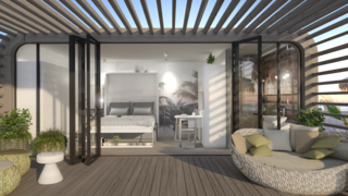 Meet the Prefab Unit That's Smart, Mobile, and Sustainable - Photo 7 of 11 - Coodos come with an optional outdoor pergola featuring a patio made of recyclable deck planks.