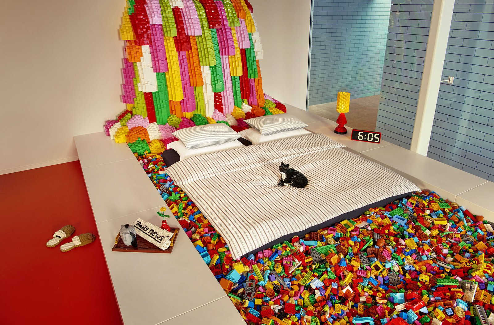Bedroom, Bed, Lamps, and Table Lighting  Photo 7 of 10 in Spend an Unforgettable Night in Denmark's New LEGO House