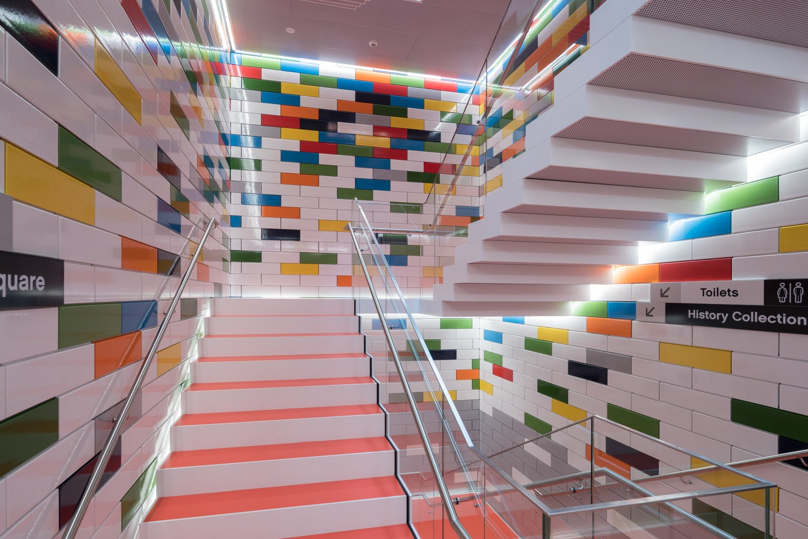 Staircase, Metal Railing, and Glass Railing  Photo 4 of 10 in Spend an Unforgettable Night in Denmark's New LEGO House