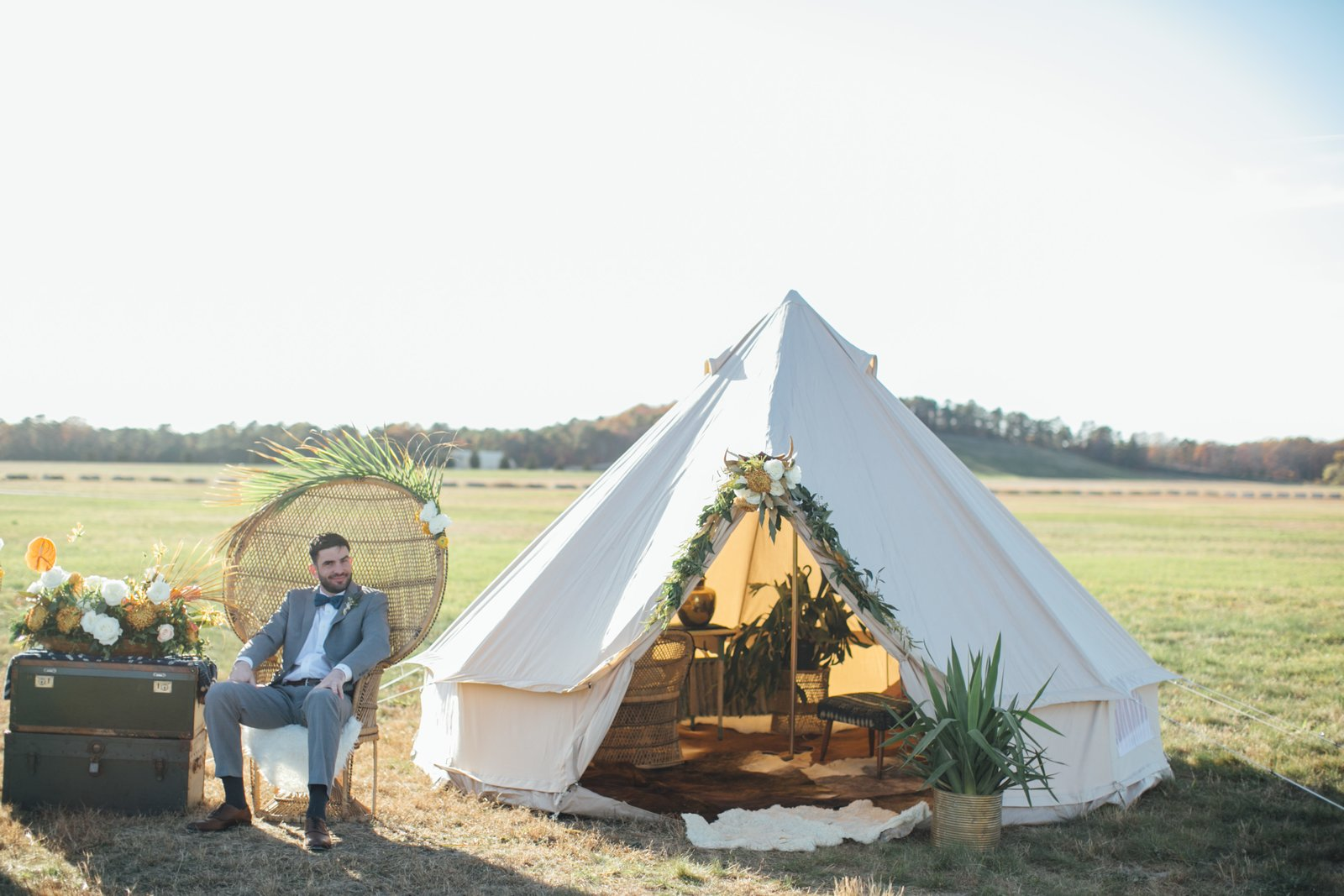 Outdoor, Front Yard, Back Yard, and Trees Wanderland Popup. Flowers are by Flower Child Florals.  Photo 2 of 10 in 10 Modern Wedding Venues That Will Make Your Big Day Unforgettable from Wedding Round-Up