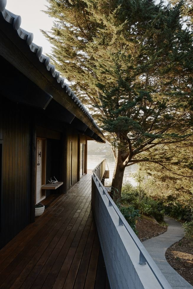 Outdoor, Side Yard, Wood Patio, Porch, Deck, Trees, and Concrete Fences, Wall  Haiku House by SHED Architecture & Design