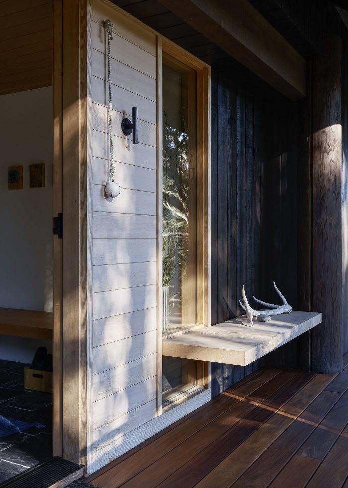 Hallway and Dark Hardwood Floor  Haiku House by SHED Architecture & Design