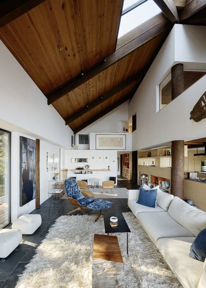 Living Room, Sofa, Rug Floor, Coffee Tables, and Ottomans  Haiku House by SHED Architecture & Design