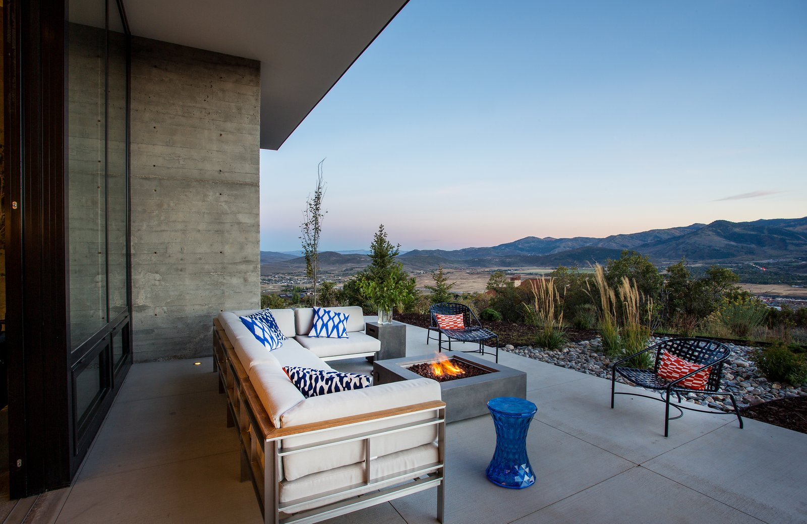 Outdoor, Trees, Large Patio, Porch, Deck, Concrete Patio, Porch, Deck, Desert, Back Yard, Shrubs, and Hardscapes  Photos from Park City Modern Residence