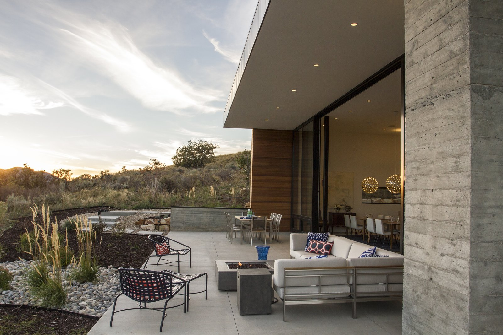 Outdoor, Hardscapes, Large Patio, Porch, Deck, Shrubs, Concrete Patio, Porch, Deck, Walkways, and Back Yard  Park City Modern Residence by Sparano + Mooney Architecture