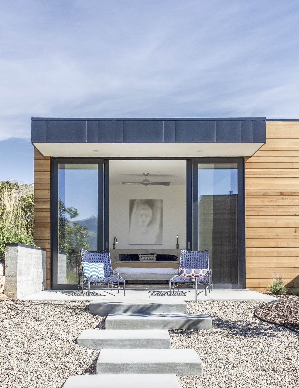 Outdoor, Shrubs, Concrete Patio, Porch, Deck, Back Yard, Trees, Walkways, Small Patio, Porch, Deck, and Hardscapes  Park City Modern Residence by Sparano + Mooney Architecture