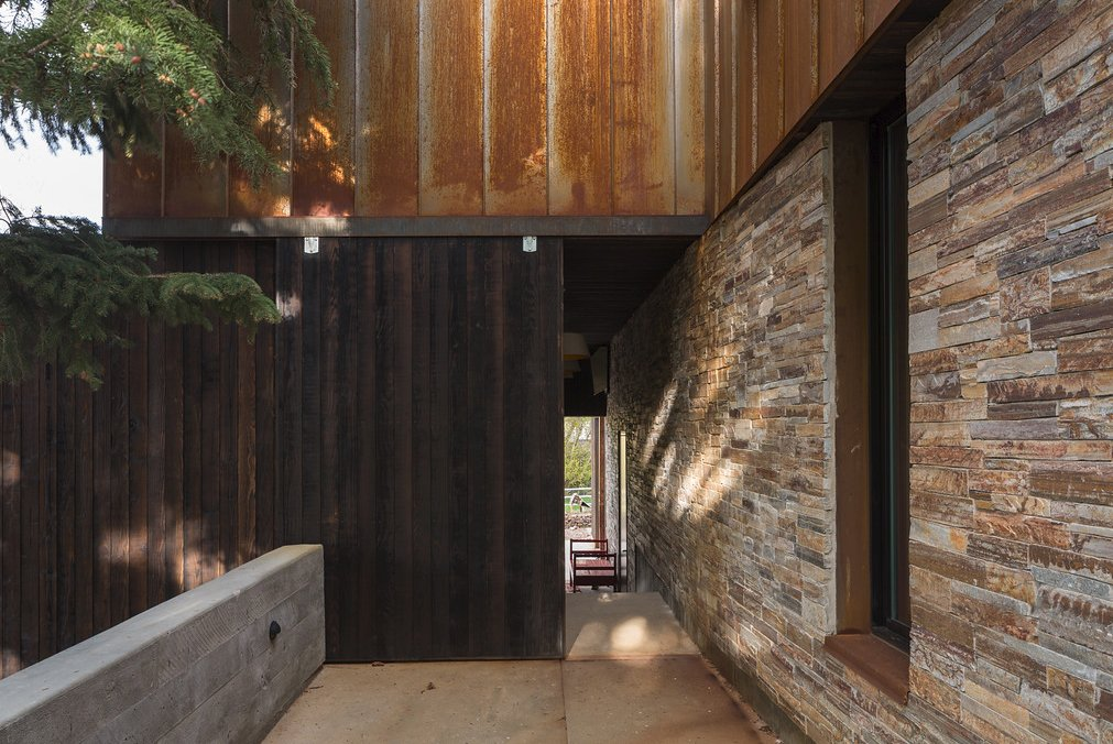 Outdoor, Concrete, Metal, Stone, and Wood  Best Outdoor Metal Concrete Photos from Thaynes Canyon Residence