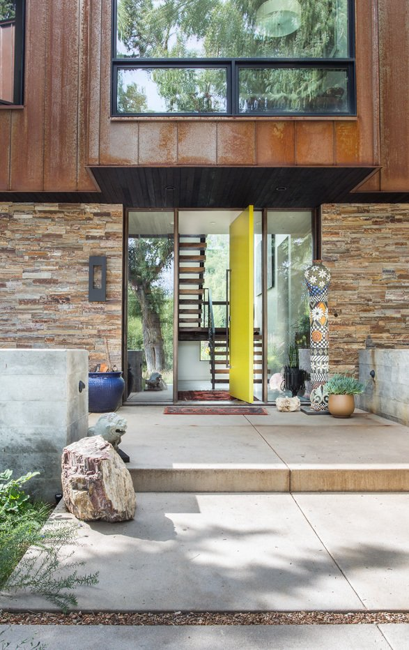 Outdoor, Walkways, Front Yard, Wood Patio, Porch, Deck, Concrete Patio, Porch, Deck, Metal Patio, Porch, Deck, and Stone Patio, Porch, Deck  Thaynes Canyon Residence by Sparano + Mooney Architecture