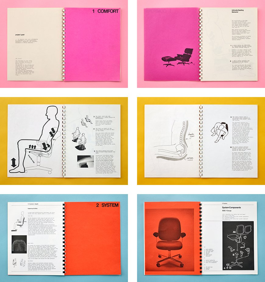 The Ergon chair was introduced in 1976 after Stumpf conducted 10 years of research into how people really sit when they work. His concept books, shown here, included documentation of consultations with orthopedic surgeons and cardiovascular specialists to understand the effects of chairs and the seated posture on the body's circulatory system, muscles, and bones.  Photo 2 of 3 in Creatures of Comfort