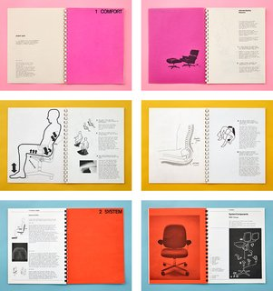 The Ergon chair was introduced in 1976 after Stumpf conducted 10 years of research into how people really sit when they work. His concept books, shown here, included documentation of consultations with orthopedic surgeons and cardiovascular specialists to understand the effects of chairs and the seated posture on the body's circulatory system, muscles, and bones.